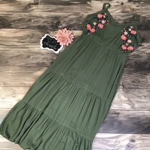 Fourteenth Place Boho Tiered Maxi Dress Floral